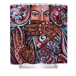 Shower Curtain featuring the painting Henna by Harsh Malik