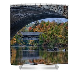 Shower Curtain featuring the photograph Henniker Covered Bridge No. 63 by Jeff Folger