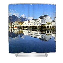 Henningsvaer Harbour Shower Curtain by Heiko Koehrer-Wagner