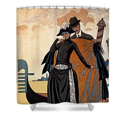 Her And Him Fashion Illustration Shower Curtain by Georges Barbier