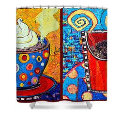 Her And His Coffee Cups Shower Curtain by Ana Maria Edulescu