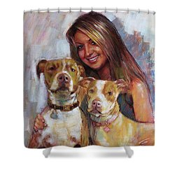 Shower Curtain featuring the drawing Her Best Friends by Viola El