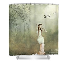 Her Cool Demeanor Shower Curtain by Linda Lees