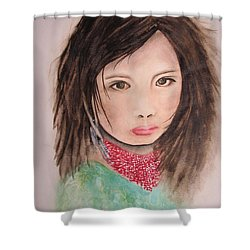Her Expression Says It All Shower Curtain by Chrisann Ellis
