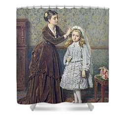 Her First Communion Shower Curtain by George Goodwin Kilburne