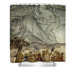 Hercules Supporting The Sky Instead Of Atlas Shower Curtain by Arthur Rackham