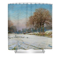 Herding Sheep In Wintertime Shower Curtain by Frank Hind