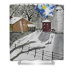 Shower Curtain featuring the painting Here Comes The Sun by Jeffrey Koss