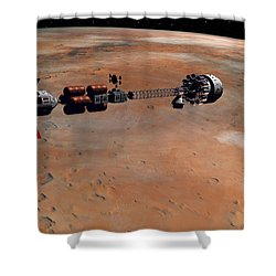 Hermes1 Orbiting Mars Shower Curtain by David Robinson