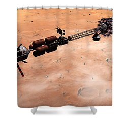 Hermes1 Over Mars Shower Curtain by David Robinson