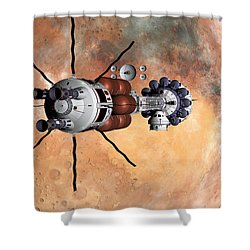 Hermes1 Realign Orbital Path Shower Curtain by David Robinson