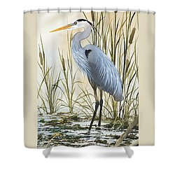 Heron And Cattails Shower Curtain