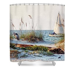 Heron And Sailboat Larger Sizes Shower Curtain by Michael Thomas