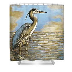 Shower Curtain featuring the painting Heron At Bay by VLee Watson