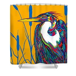 Heron Shower Curtain by Derrick Higgins