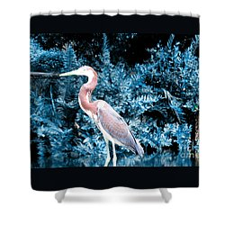 Heron In Blue Shower Curtain