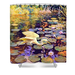 Heron In Lily Pond Shower Curtain
