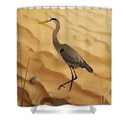 Heron On Golden Sands Shower Curtain