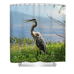 Heron On Lake Shower Curtain