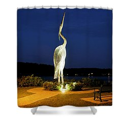 Heron On Mill Pond Shower Curtain