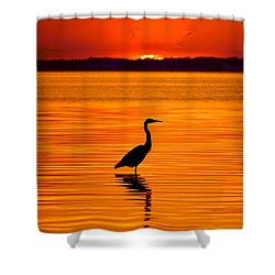 Heron With Burnt Sienna Sunset Shower Curtain