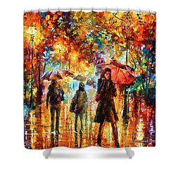 Hesitation Of The Rain Shower Curtain by Leonid Afremov