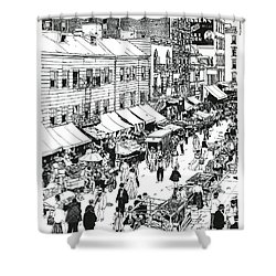 Shower Curtain featuring the drawing Hester Street by Ira Shander