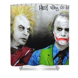 Health Ledger - ' Hey Why So Serious? ' Shower Curtain by Christian Chapman Art
