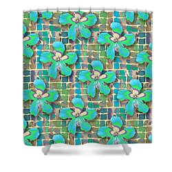 Hibiscus Blue Water Shower Curtain