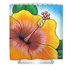Hibiscus Number 2 Shower Curtain by Adam Johnson