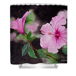 Shower Curtain featuring the painting Hibiscus - So Pretty In Pink by Sher Nasser