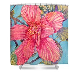 Hibiscus Stripes Shower Curtain