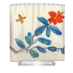 Shower Curtain featuring the painting Hibiscus With Butterfly by Linda Feinberg