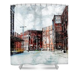 Hickory - Urban Building Row Shower Curtain by Liane Wright