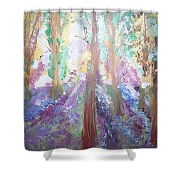 Shower Curtain featuring the painting Hidden Forest Fairies by Judith Desrosiers