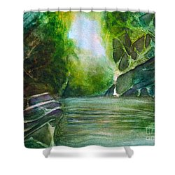 Shower Curtain featuring the painting Hidden Green by Allison Ashton