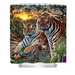 Hidden Images - Tigers Shower Curtain by Steve Read