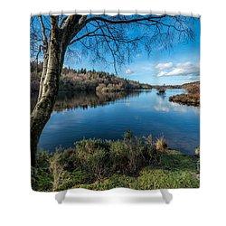 Hidden Lake Shower Curtain by Adrian Evans