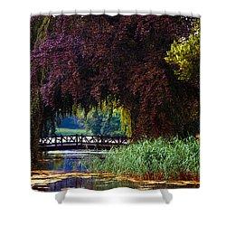 Hidden Shadow Bridge At The Pond. Park Of The De Haar Castle Shower Curtain by Jenny Rainbow