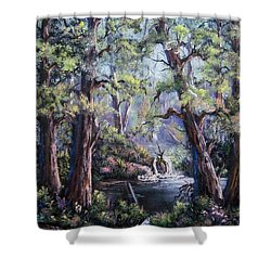 Shower Curtain featuring the painting Hidden Waters by Megan Walsh