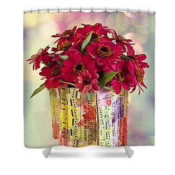 Shower Curtain featuring the photograph Hide And Seek Zinnias by Sandra Foster