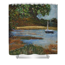 Shower Curtain featuring the painting Hospital Cove by Michael Helfen