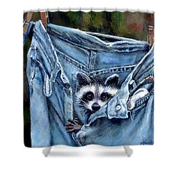 Hiding In My Jeans Shower Curtain by Donna Tucker