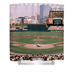 High Angle View Of A Baseball Field Shower Curtain by Panoramic Images