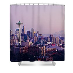 High Angle View Of A City At Sunrise Shower Curtain