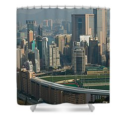 High Angle View Of A Horseracing Track Shower Curtain by Panoramic Images