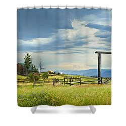 High Country Farm Shower Curtain by Theresa Tahara