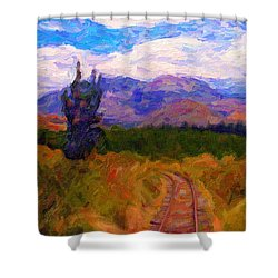 High Country Tracks Shower Curtain