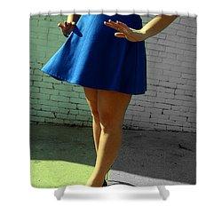 High Heels And A Blue Skirt Shower Curtain