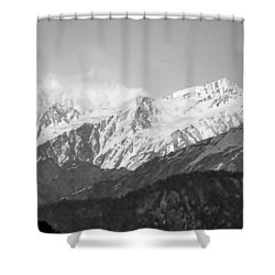 High Himalayas - Black And White Shower Curtain by Kim Bemis